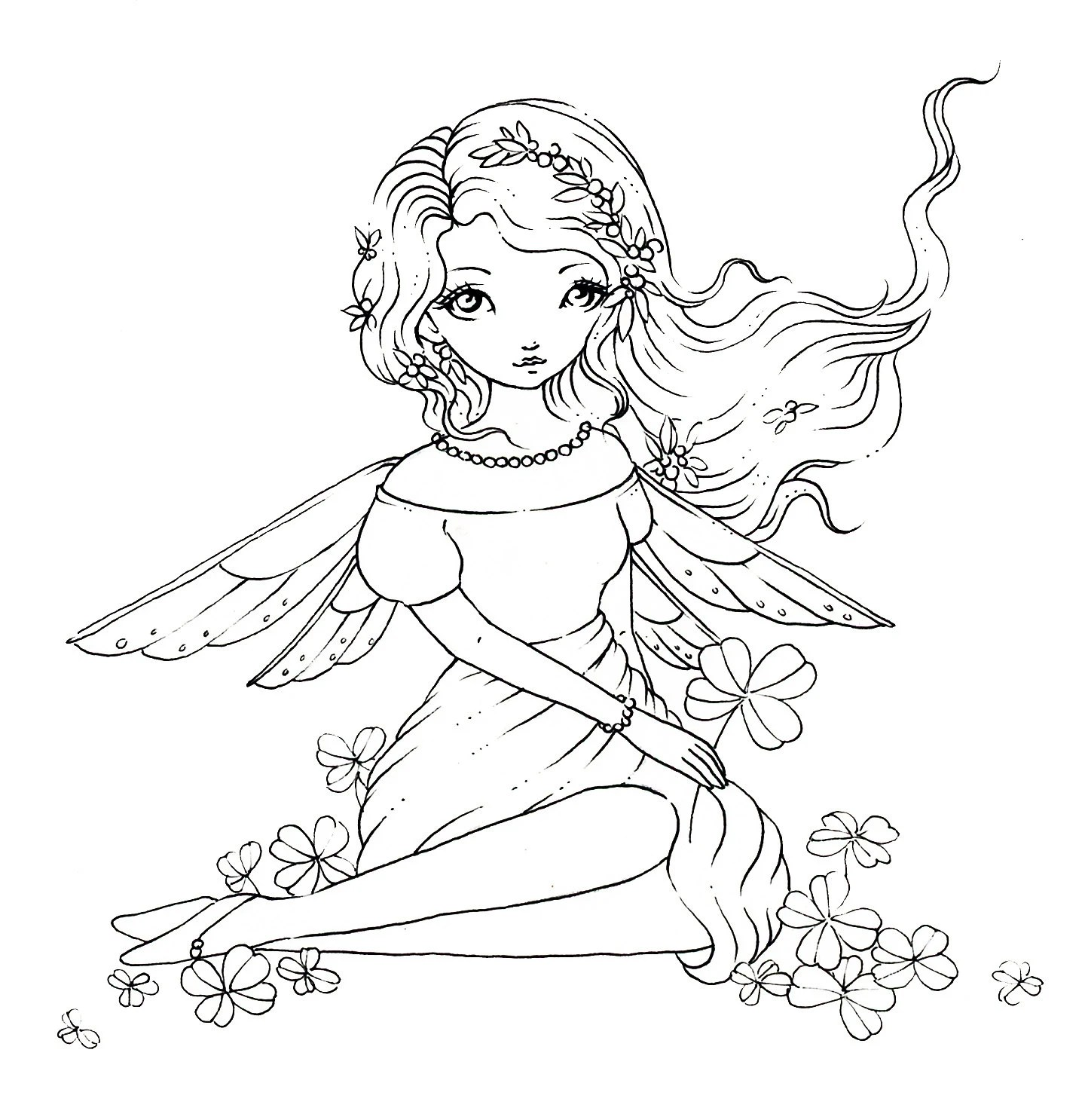 Clover Fairy Digital Stamp Instant Download Fairy Girl