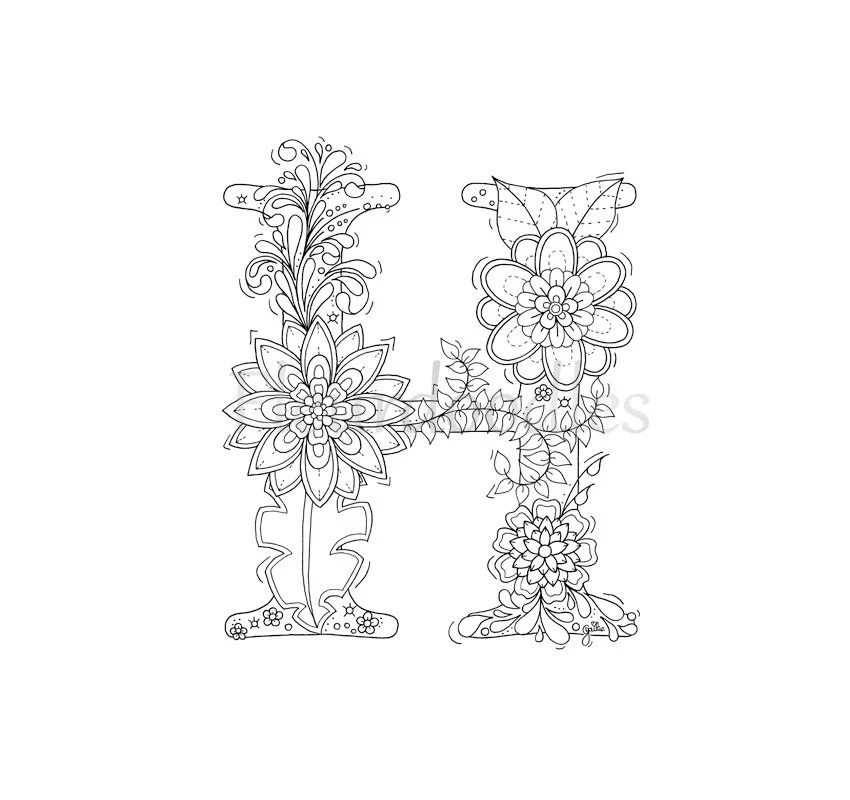 adult coloring page floral letters alphabet H hand