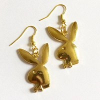 Gold Playboy Bunny Earrings