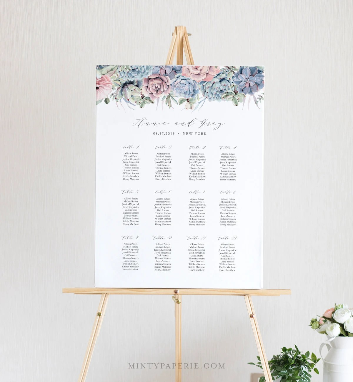 Succulent Seating Chart Template, Printable Wedding Seating Sign ...