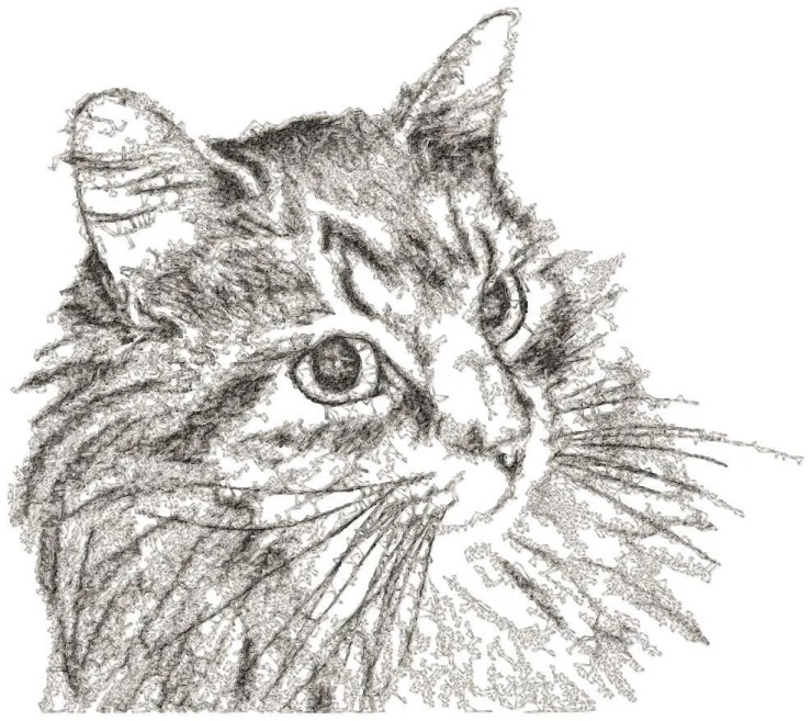 BIG hoop photorealistic CAT Machine Embroidery Design File, digital download