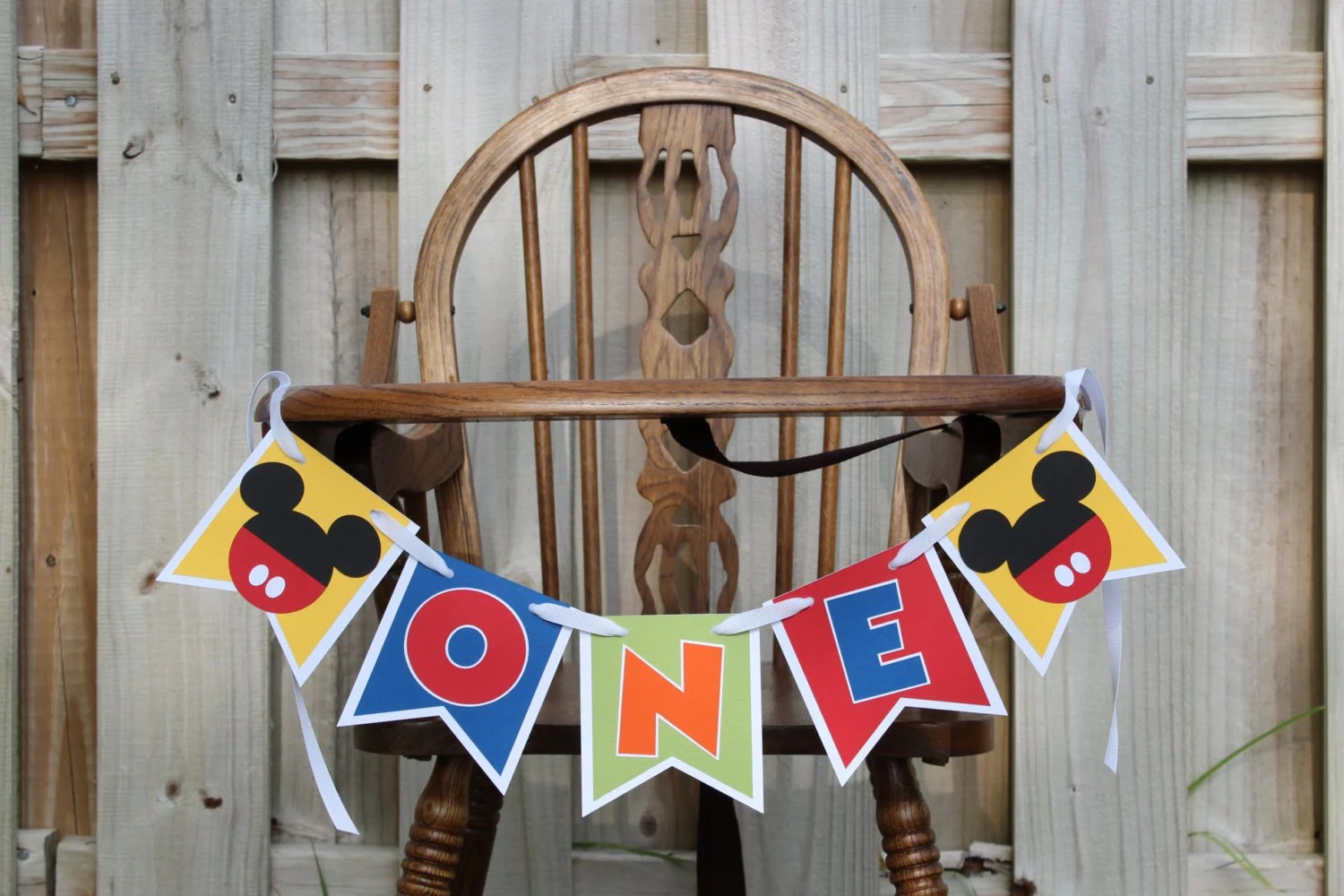 mickey mouse high chair decorations cheap wood chairs highchair banner cake smash