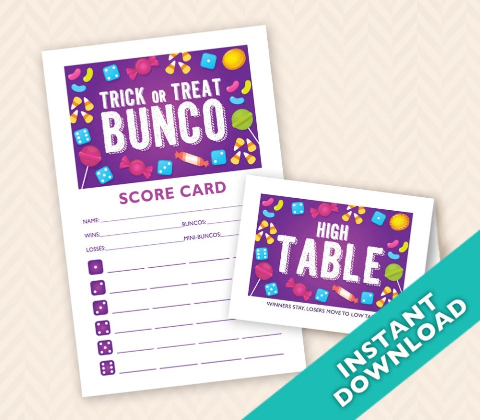 Halloween Bunco Scorecard...
