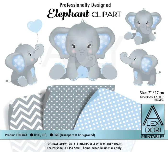 gray elephant clipart baby blue
