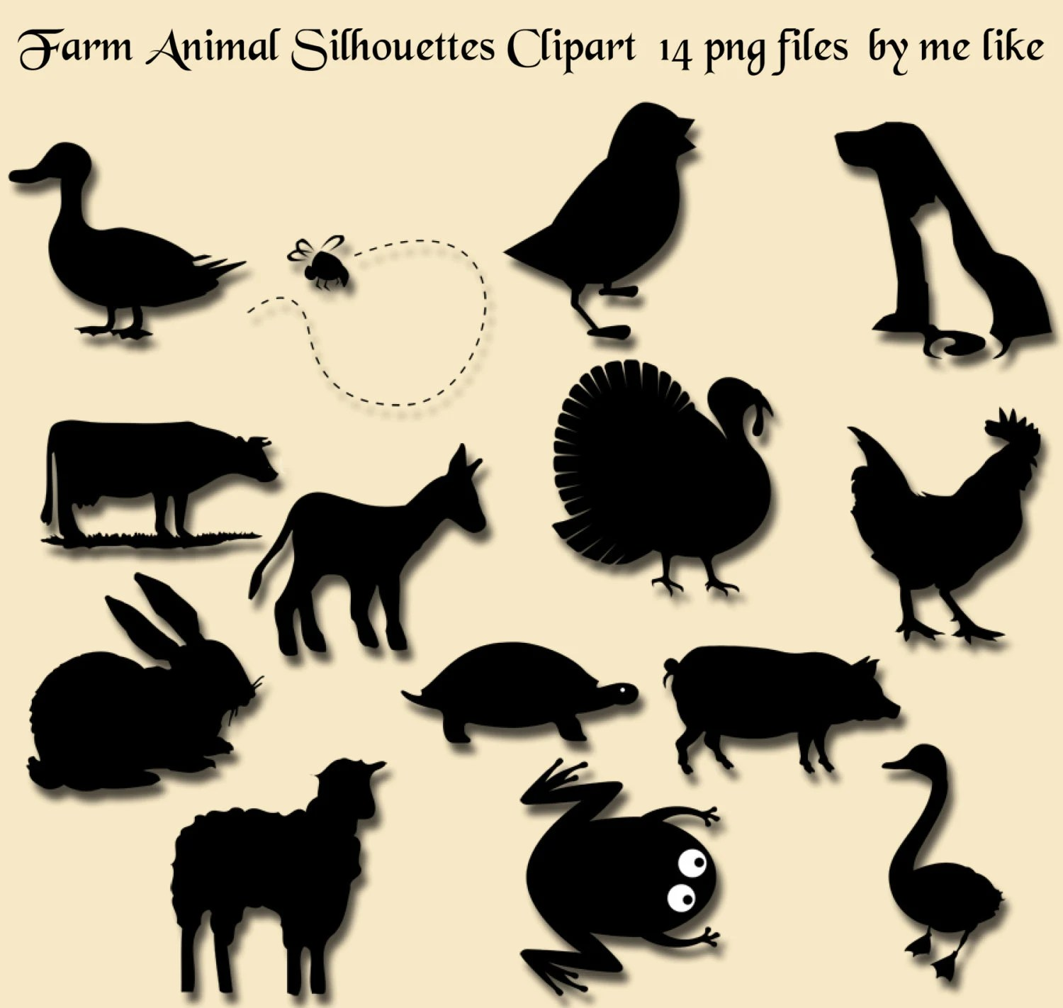 farm animal silhouettes clip art instant download 14 individual png files clipart for personal or commercial use 300 dpi embellishment [ 1500 x 1422 Pixel ]