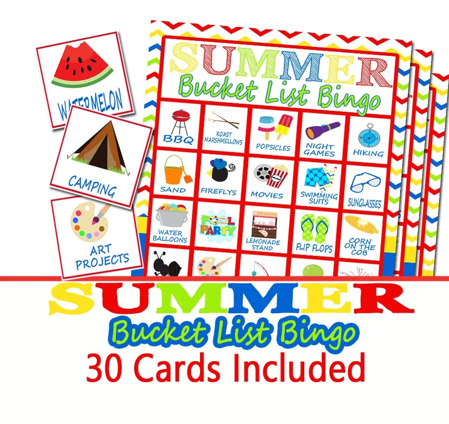 Summer Bucket List Bingo Game End Of Year Party Game School
