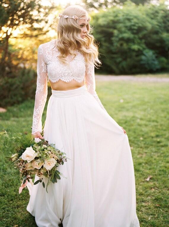 Wedding Separate Willow Crop Top Lace Crop Top Long