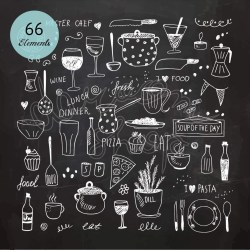 dessin tiza craie dibujo chalk cuisine cibo cocina drawing utensilios mano dessinee drawn clip este dibujado descripcion hand ampliar