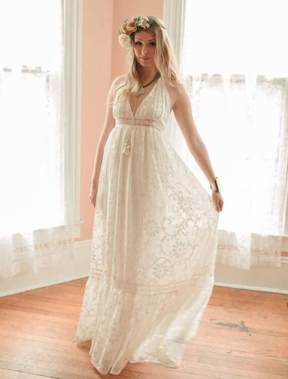 Boho Hochzeit samt Burnout Kleid Neckholder Kleid Strand