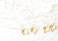 Gold Maple Leaf Earrings Maple Leaf Dangle Earrings Gold