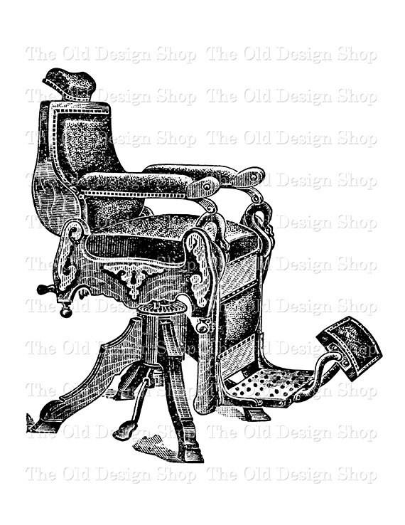 Antique Barber Chair Vintage Printable Clip Art Digital