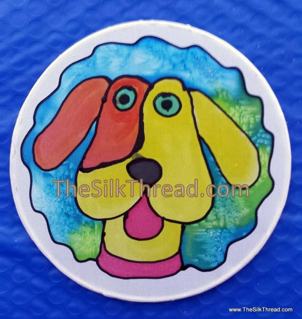 "Dog Suncatcher, Goofy pet,Whimsical, Hand Painted, 6"" Diameter Sun Catcher, Stained Glass Look, Dog Art, Wall Decor by artist, Free Ship USA"