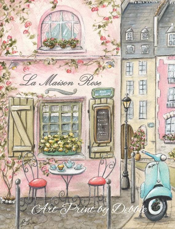 Paris Wall Art Paris Cafe Coral And Gray Paris Decor Pink