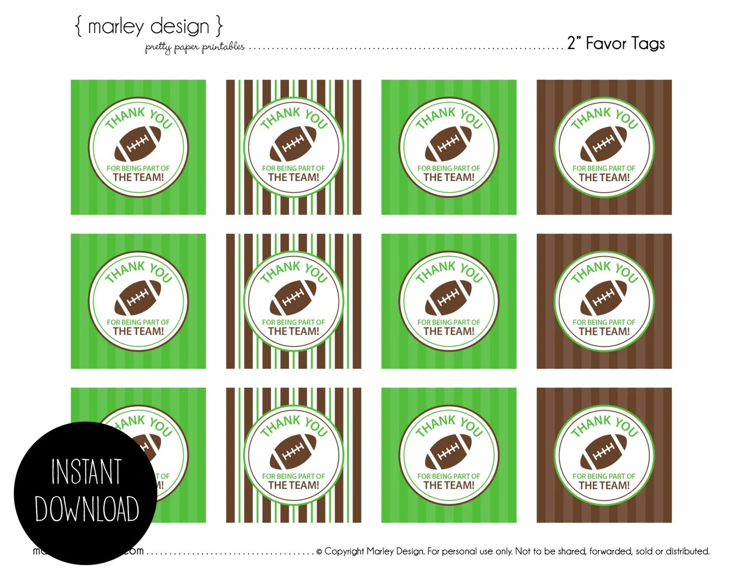 Football Birthday Party Favor Tags Printable Instant Download