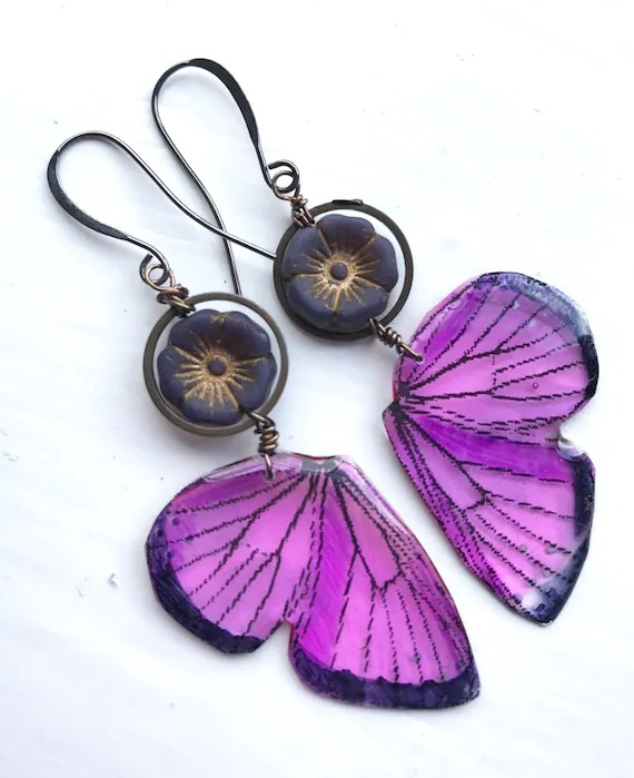 Purple butterfly wing earrings