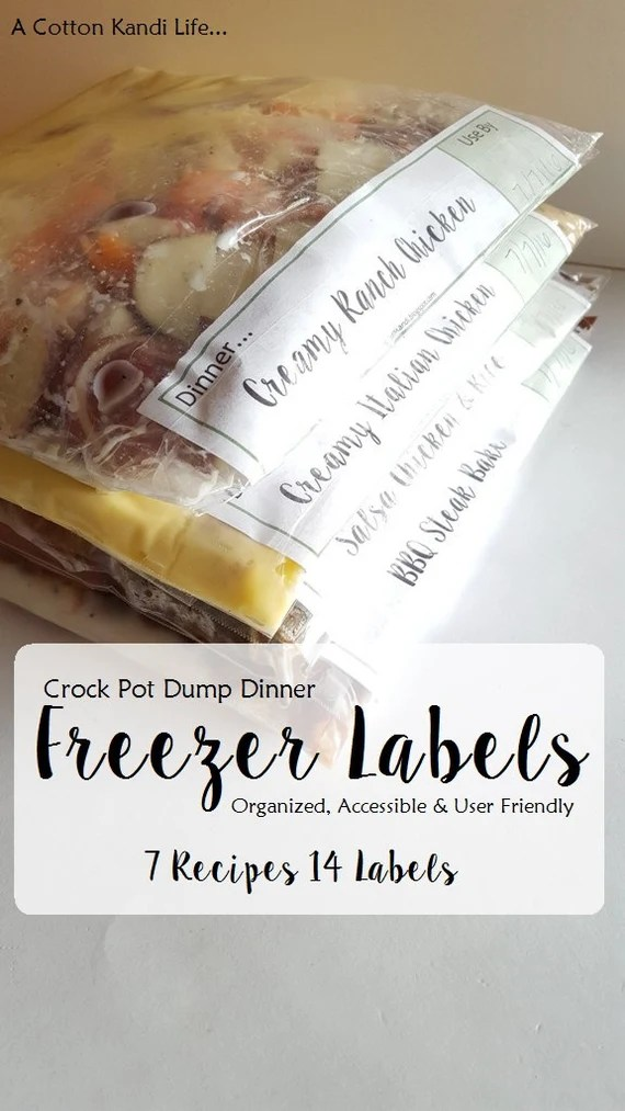 Freezer Meal Labels With Recipes