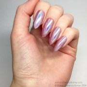 pink unicorn chrome powder nails