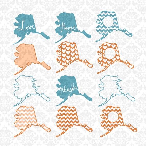 Download Alaska Outline Home Love Heart Chevron Monogram Bundle SVG DXF