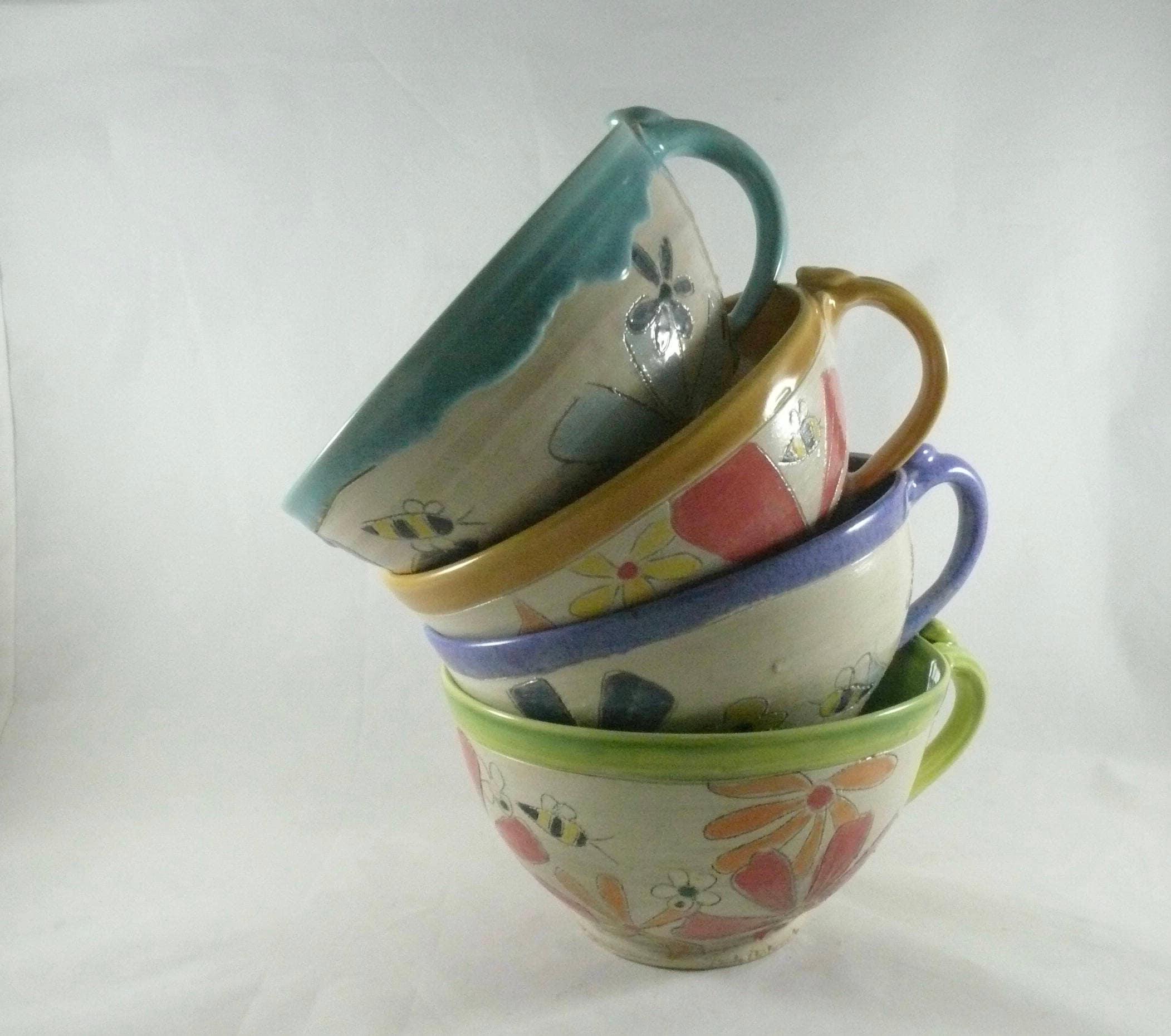 Ceramic Soup Mugs Bowls With Handles Set Of Four Unique