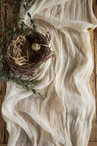 Rustic cheesecloth table runner Wedding centerpieces Cream