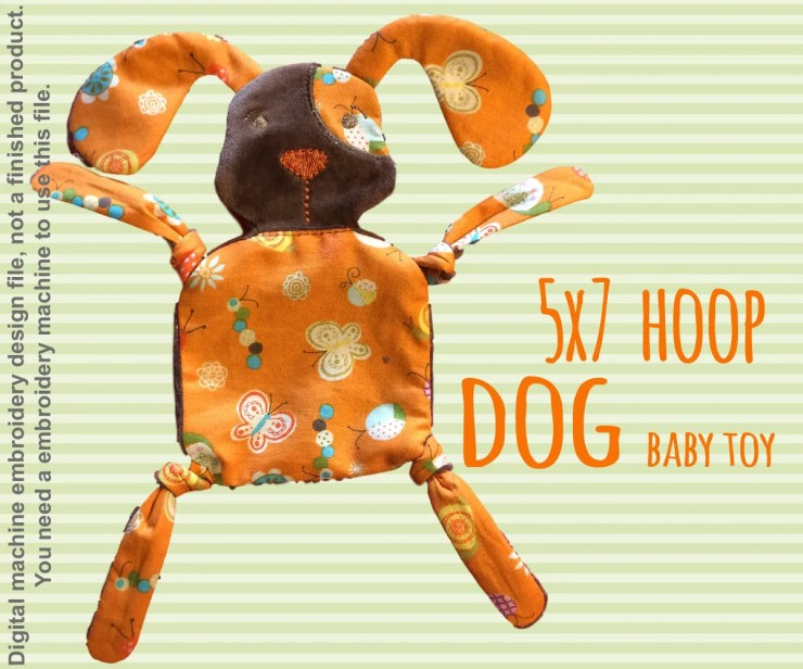 DOGGY 5x7 hoop - Baby Toy - ITH - In The Hoop - Machine Embroidery Design File, digital download