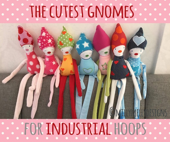 The cutest gnomes - for INDUSTRIAL hoops - ITH - In The Hoop - Machine Embroidery Design File, digital download