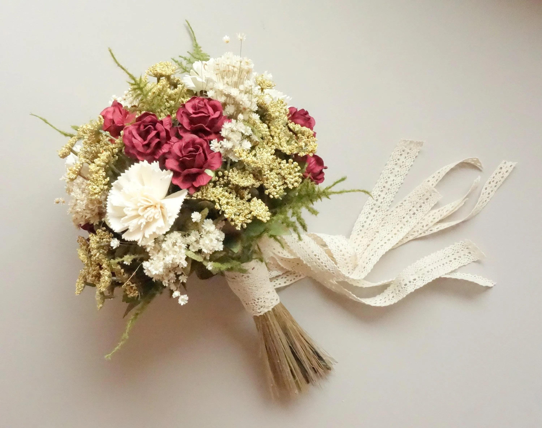 Burgundy Bridal Bouquet Dried Flower Bouquet Winter Wedding