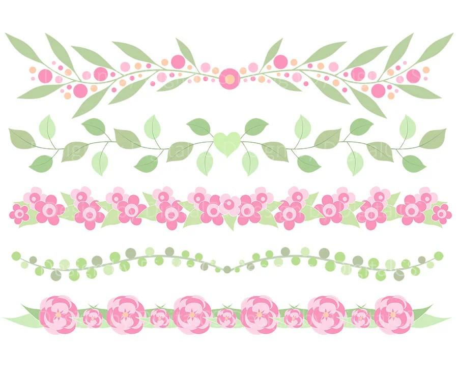 Flower Border Clipart Flower Border Clip Art Digital