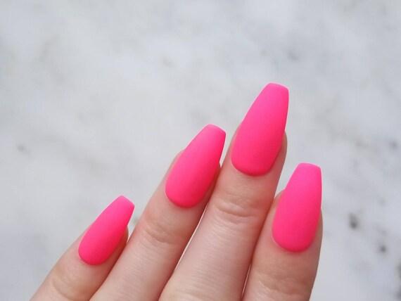 neon matte pink press nails