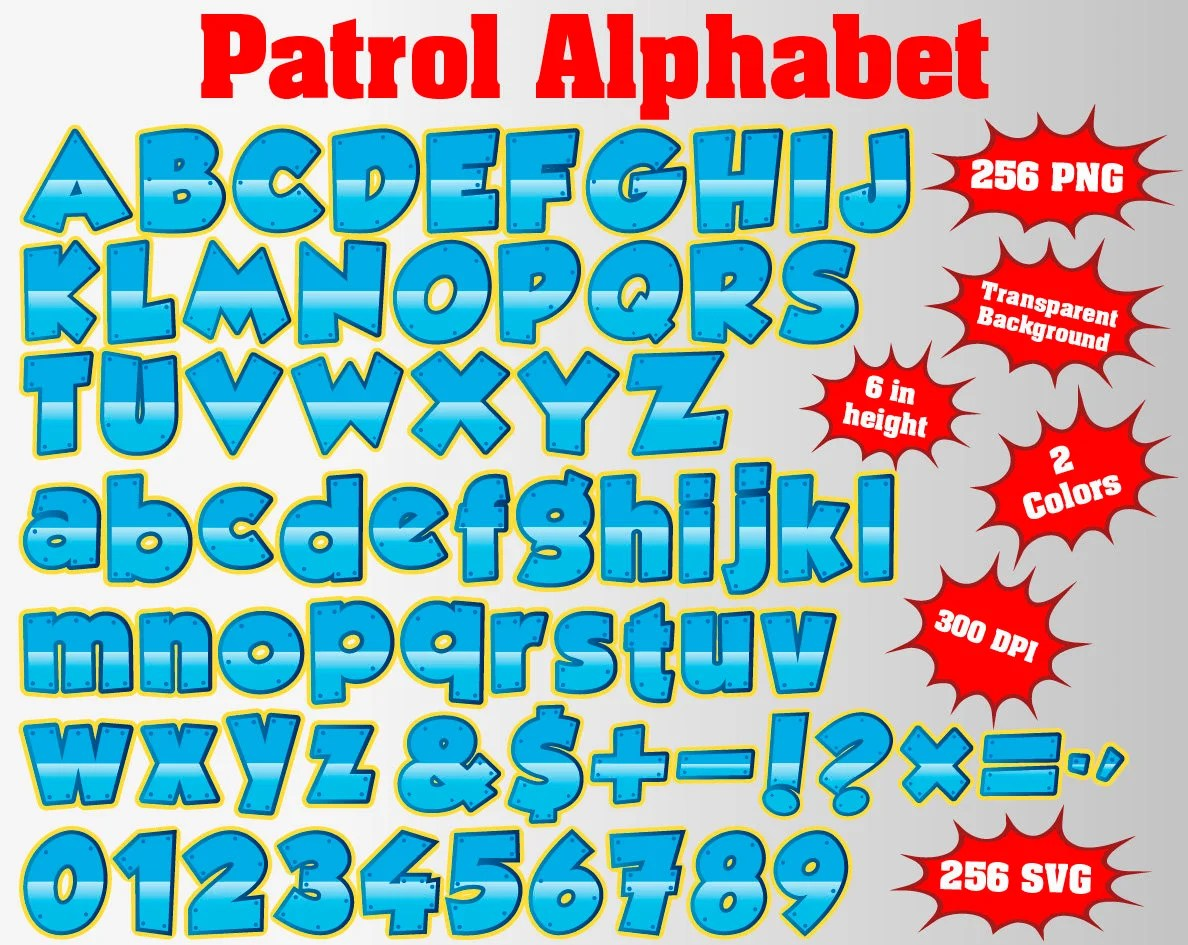 Paw Full Patrol Alphabet Numbers And Symbols 512 Svg