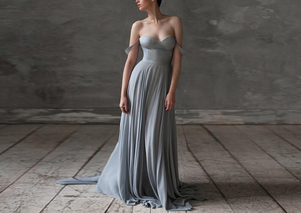 Eeribiya / Grey Wedding Dresses Silk Wedding Dress Boho