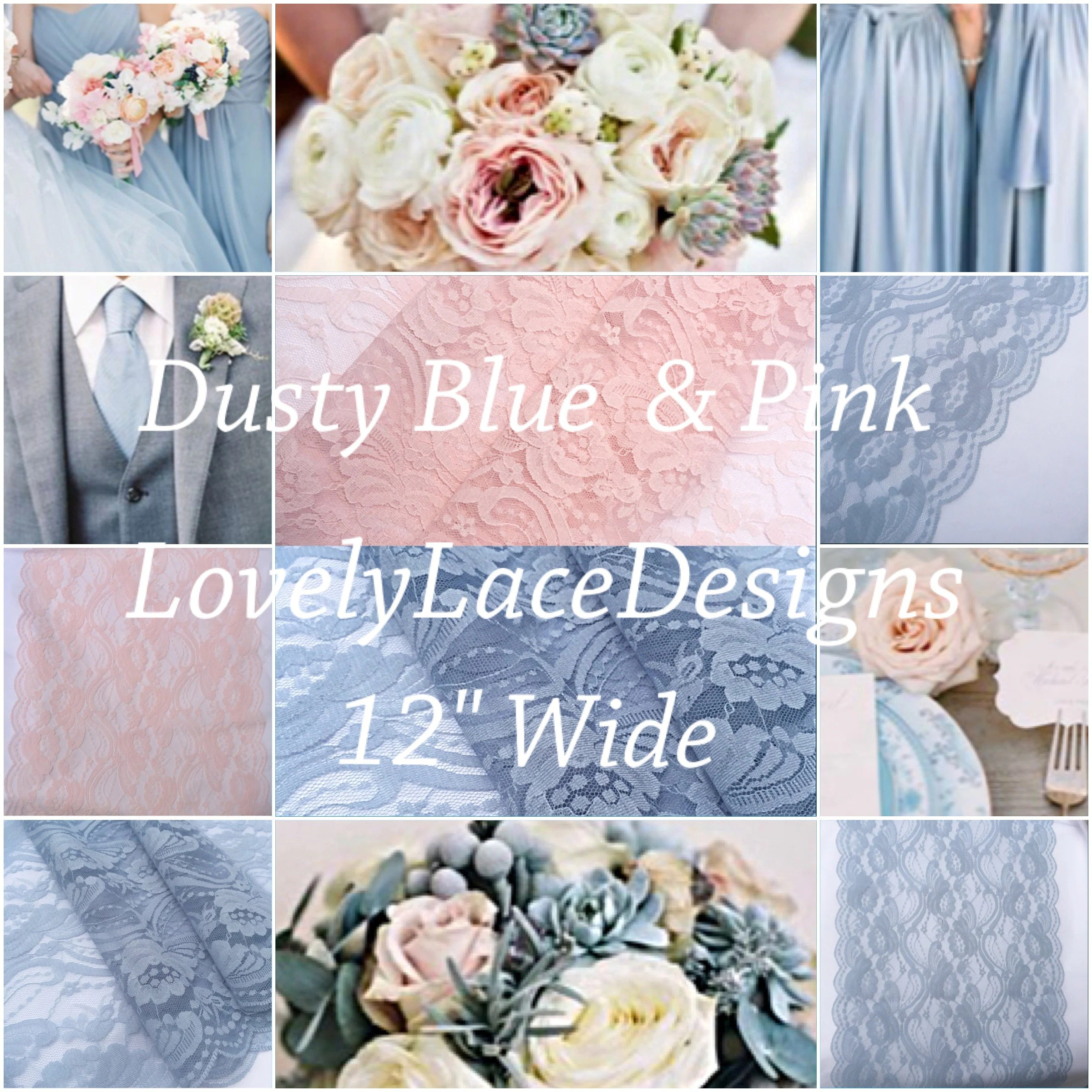 Dusty BLue/Blush Pink/ Lace Table Runner/12ft