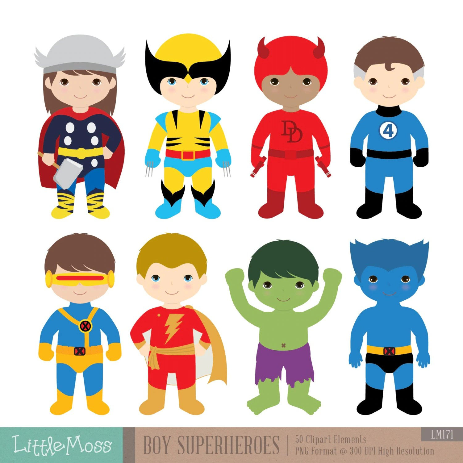 Boys Superhero Costumes Clipart 2 Boy Superheroes