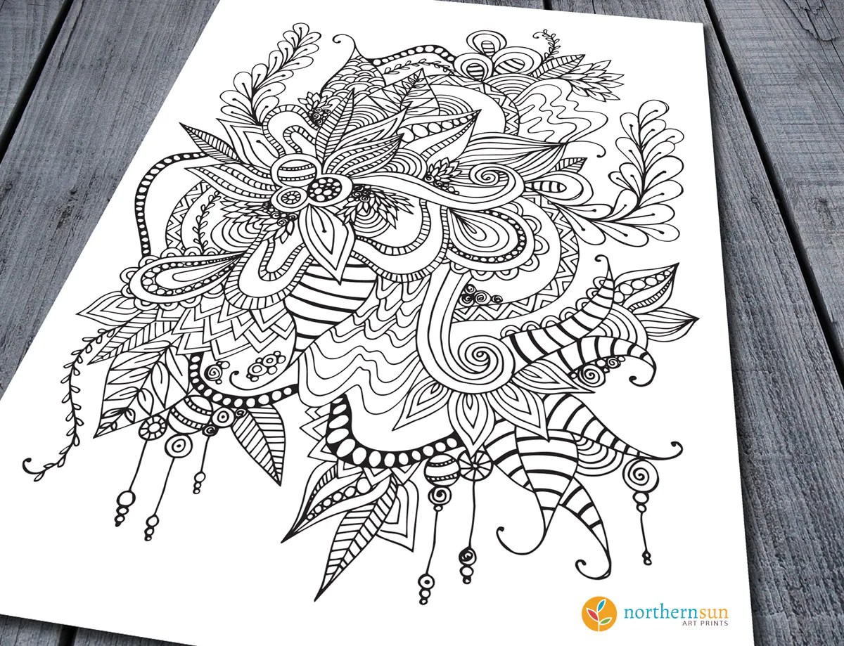 Doodle Adult Colouring Page Printable Colouring Pages Zen