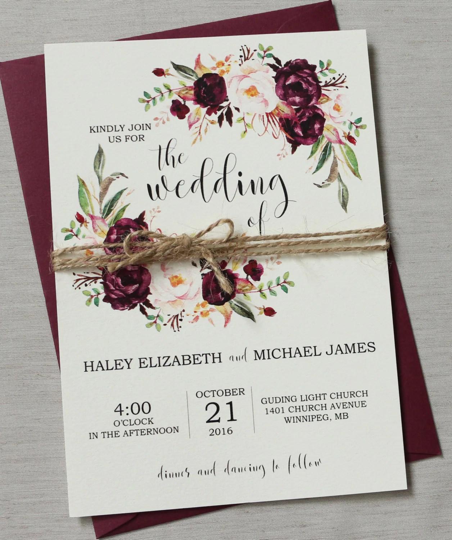 Burgundy Wedding Invitations