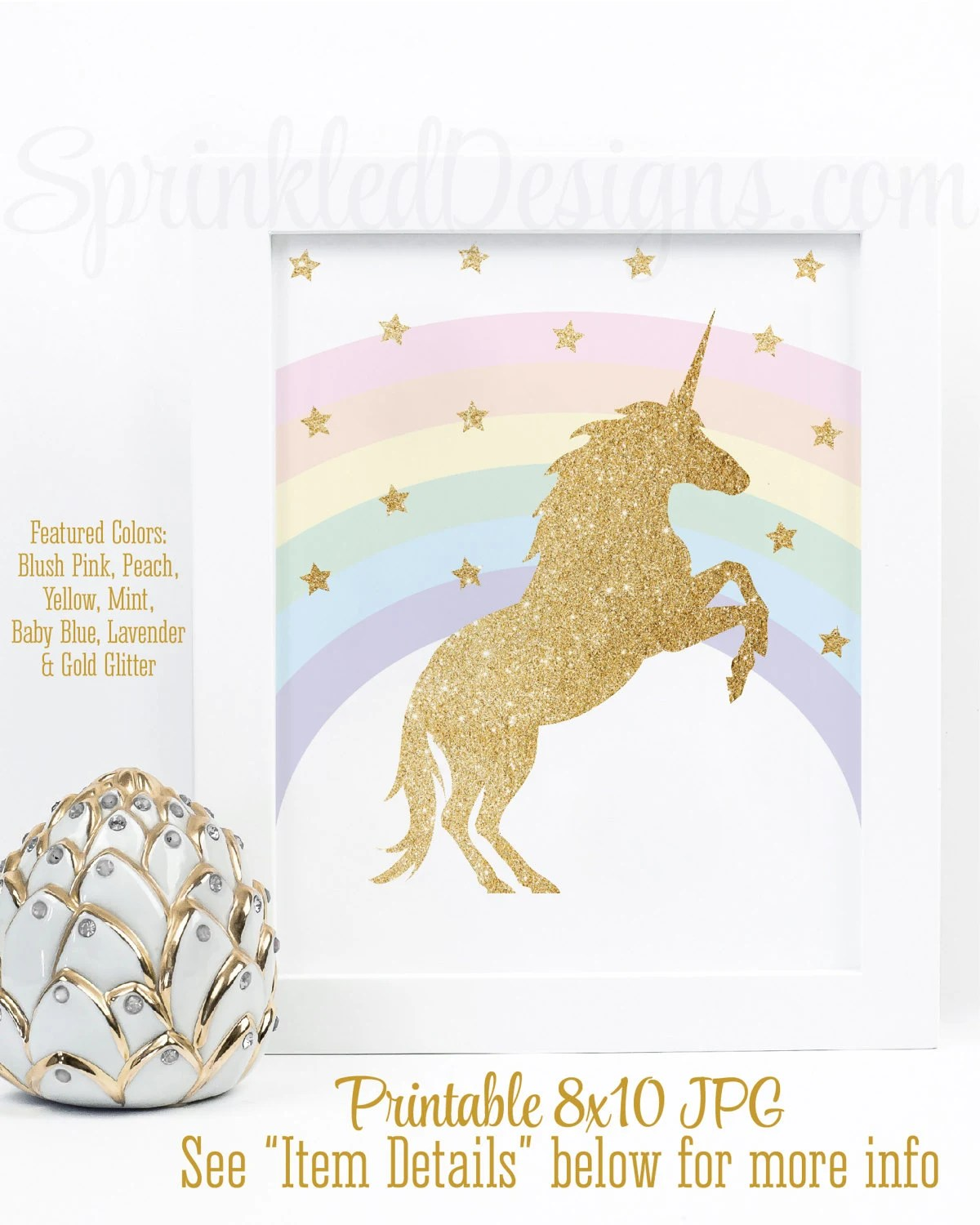 Sparkly Magical Girl Wallpaper Printable Unicorn First Birthday Party Decorations Rainbow