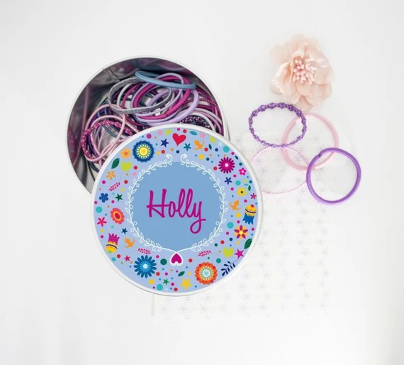 Pretty Personalised Tin For Girls Hair Accessories