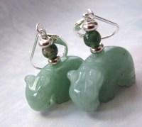 hippopotamus jewelry hippo earrings green aventurine
