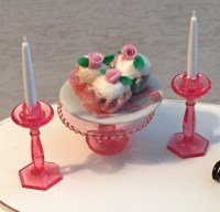 Miniature Pink Cake Plate Stand and Candle Set, Dollhouse ...