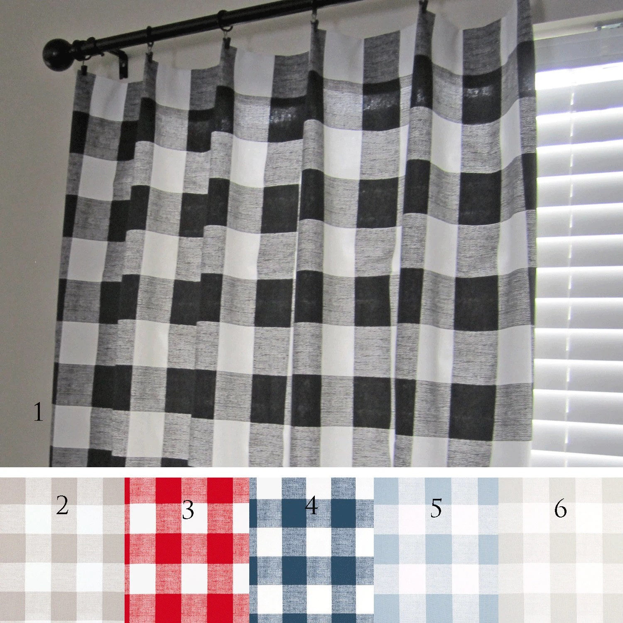 Buffalo Check Curtain Panels Black Ecru Red Navy Light