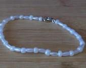 White Beaded Bracelet, Si...
