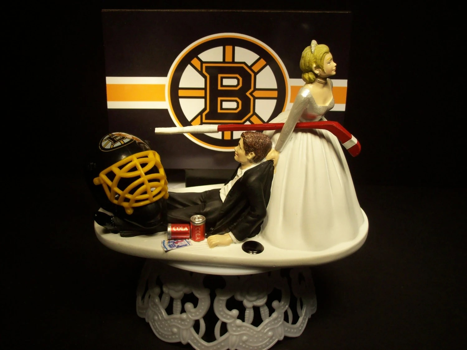 Hockey Sports Team BOSTON BRUINS Bride And Groom Wedding Cake
