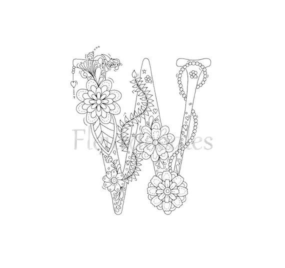 adult coloring page floral letters alphabet W hand