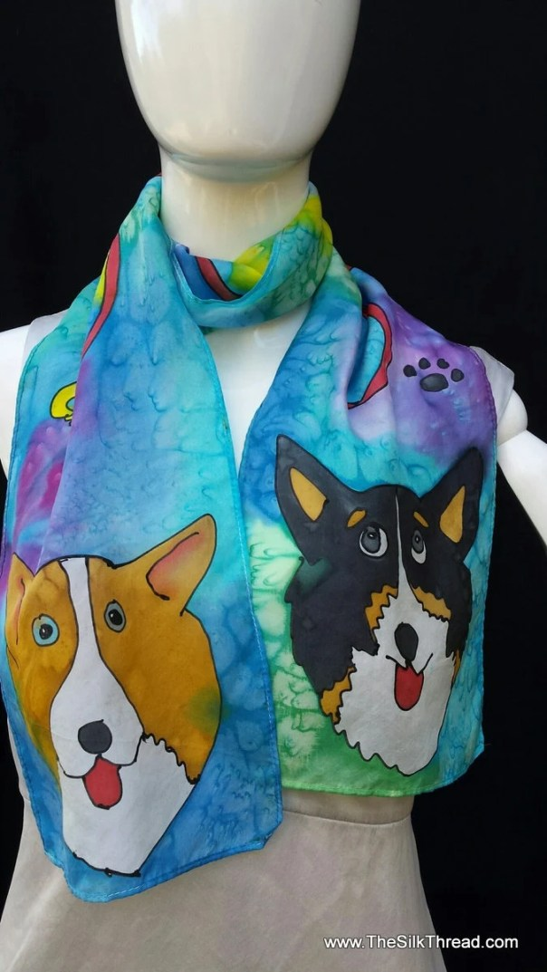 Commissioned Whimsical Pet Silk Scarf. Original Hand Drawn Animals by artist,Custom Designs of your Dog, Cat, Horse, Anything, available