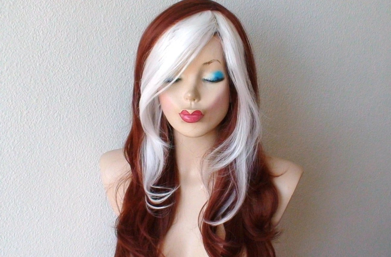 cosplay wig. copper red white