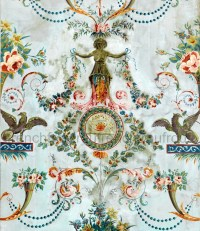 antique french wallpaper design griffin pink roses