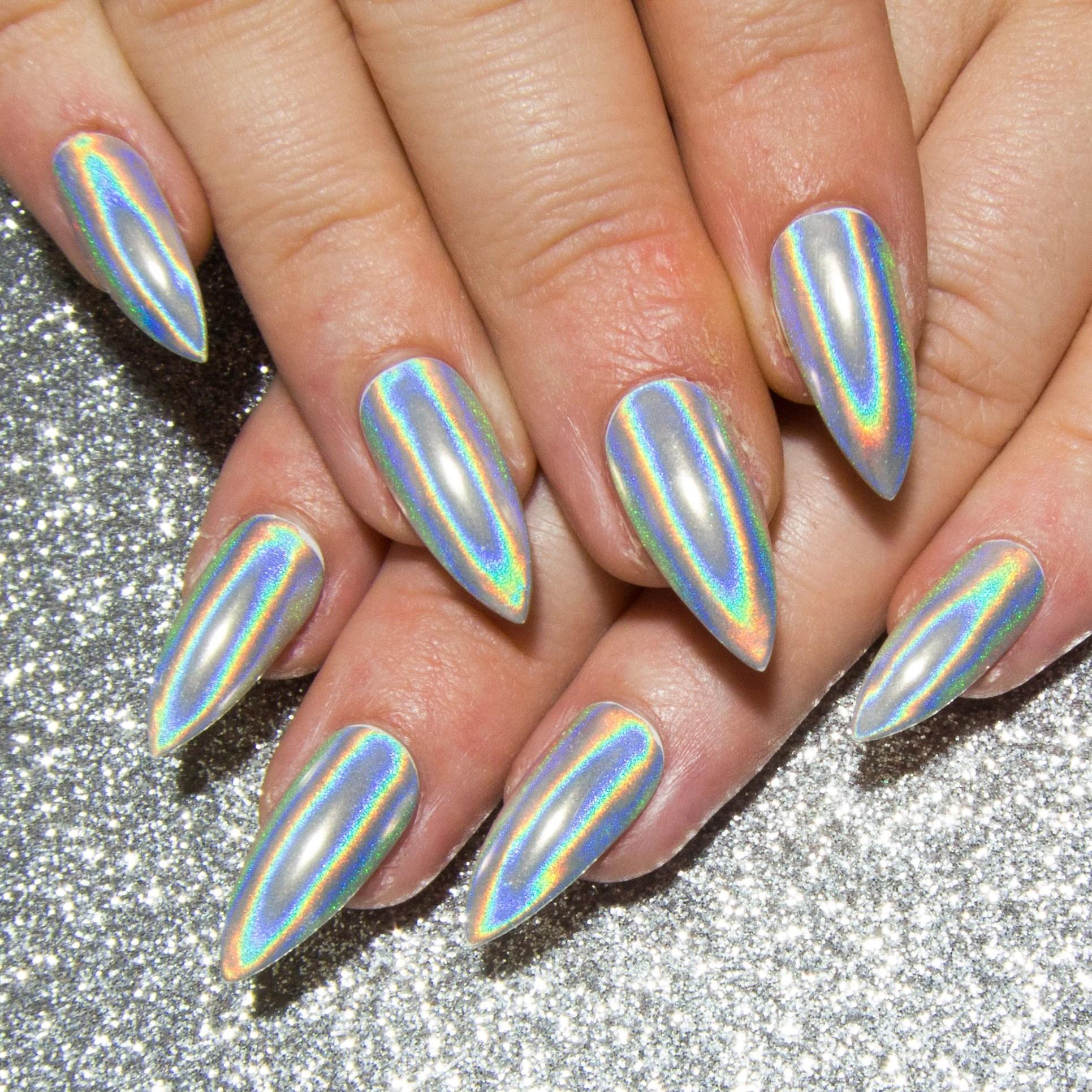 holographic chrome nails stiletto