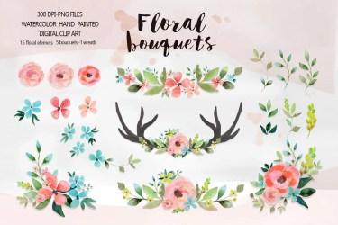 floral watercolor clipart wedding bouquets clip flower flowers watercolour bridal shower market graphics digitalcloud bouquet pink creative invitation invitations illustration