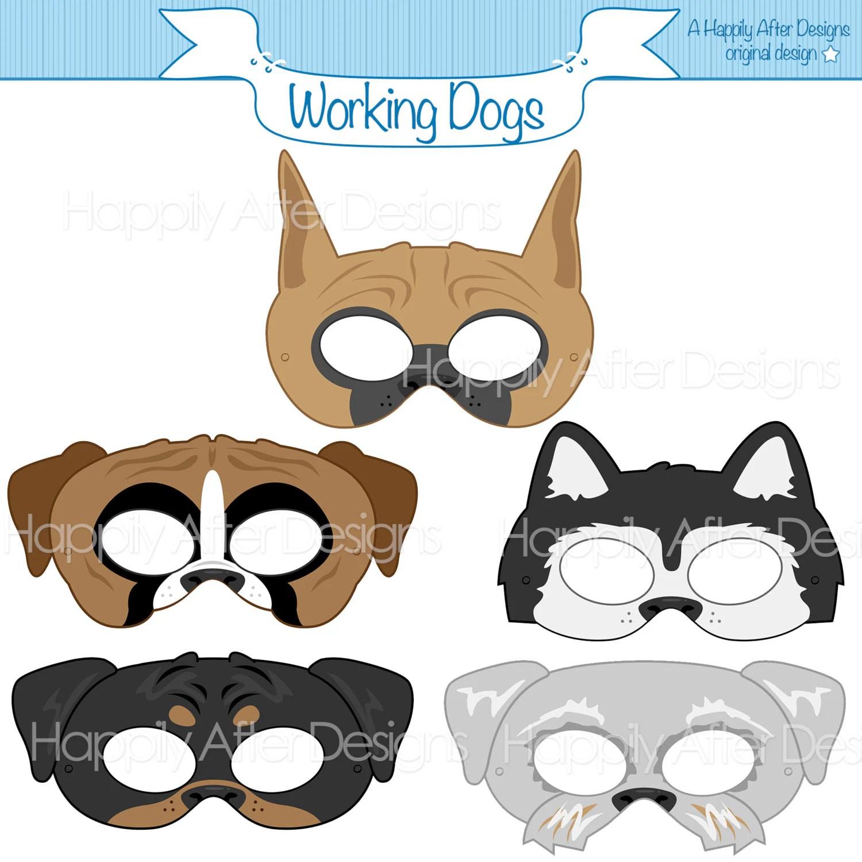 Working Dog Breed Printable Masks Boxer Mask Great Dane