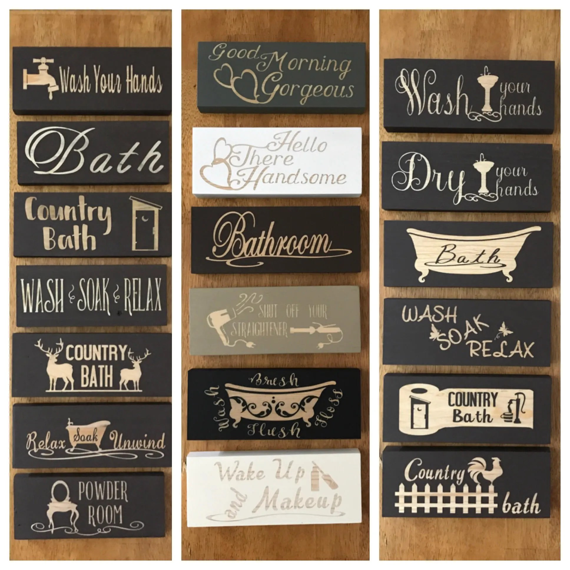 Bathroom Sign Bathroom Decor Bath Sign Wood Block Sign